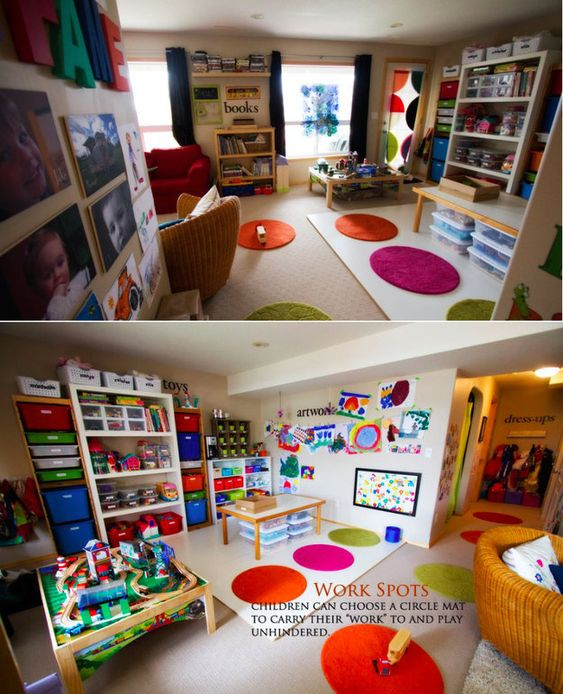 Use small rugs to create work areas for students to sit and focus. | 27 Ridiculously Cool Homeschool Rooms That Will Inspire You