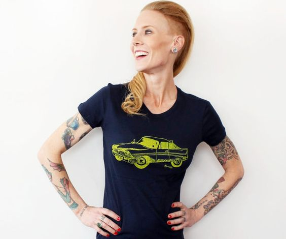Classic Car Tshirt Fitted Ladies Graphic Tee by CausticThreads, $20.00