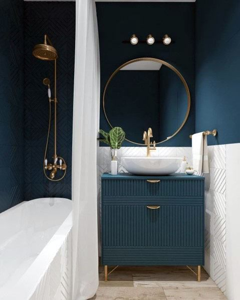 Top 50 Best Blue Bathroom Ideas Navy Themed Interior Designs Bathroom Paint Color Schemes Bathroom Interior Design Bathroom Design