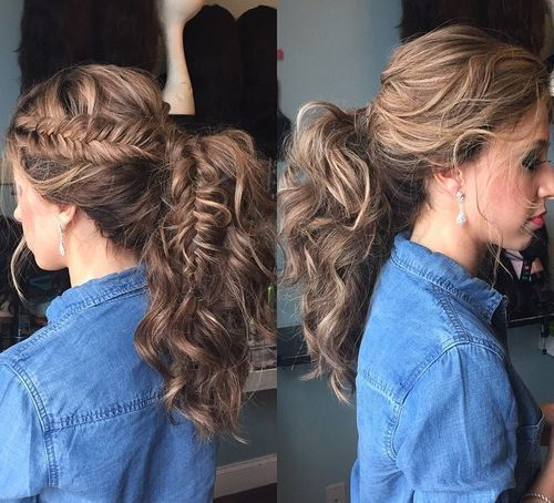 30 Eye Catching Ways To Style Curly And Wavy Ponytails Wavy Ponytail Curly Hair Ponytail Thick Hair Styles