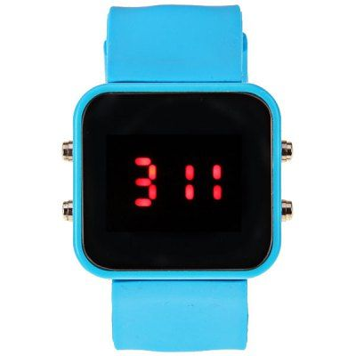 Red ;LED Sport Watch with Square Dial and Silicon Band #women, #men, #hats, #watches, #belts, #fashion, #style