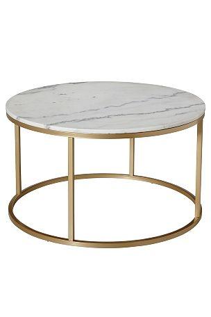 Rundt sofabord med plate av marmor og stamme av metall. Da marmor er ...