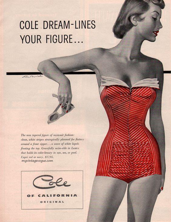 Beautiful!  Cole of California, 1953 vintage swimsuit / bathing suit ad.  #vintagebathingsuit #1950sfashion #fifties