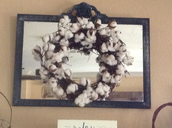 Old Glory Homestead Denton Texas. Cotton stems used for wreath