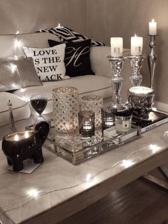 Glam Coffee Table Decor Ideas Silver Living Room Decor Home Living Room Glam Living Room Decor