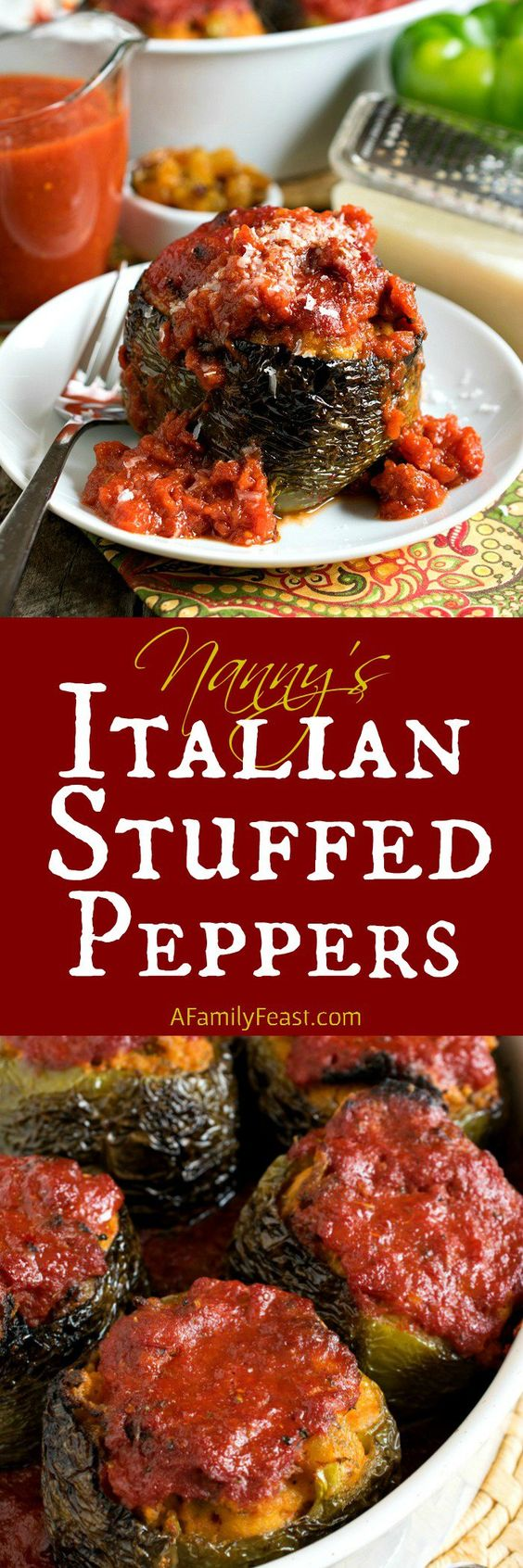 Nanny's Italian Stuffed Peppers - A recipe passed down through generations, these stuffed peppers have a delicious bread stuffing inside tender bell peppers.