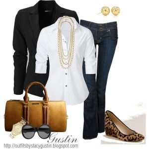Dark blue jeans, classic white shirt, black blazer, leopard flats or wedges, neutral handbag, and classic gold accessories.