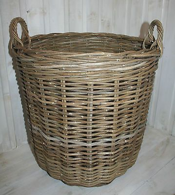 EXTRA LARGE ROUND GREY WASH SHABBY COUNTRY CHIC RUSTIC RATTAN STORAGE LOG BASKET