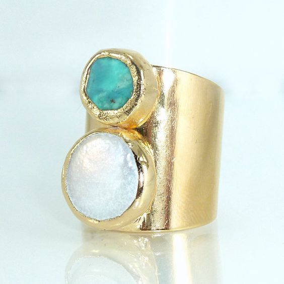 Turquoise Pearl Statement Ring, Gemstones Ring, Cocktail Turquoise Ring,  Ancient Style Jewelry, 24K Gold Adjustable Wide Band Ring.