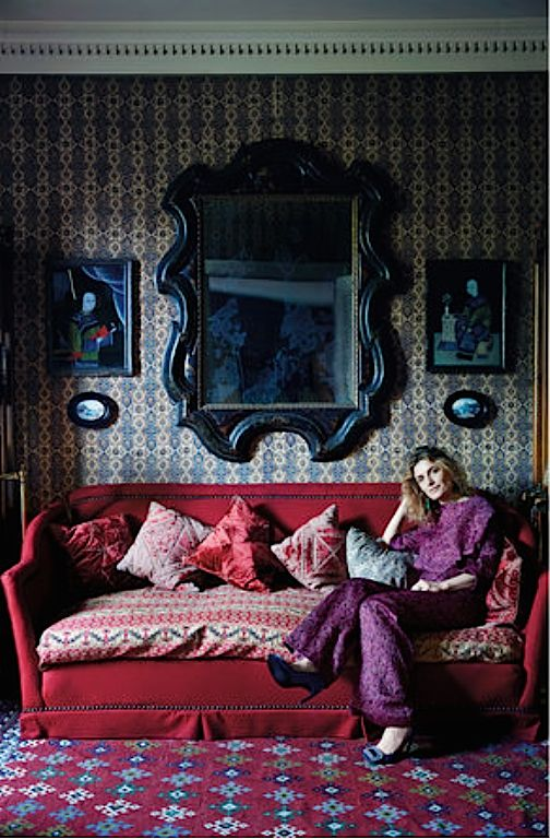 Martina Mondadori wearing an outfit by Stephan Janson at her mother's apartment in Milan, photo: Simon Watson for T magazine