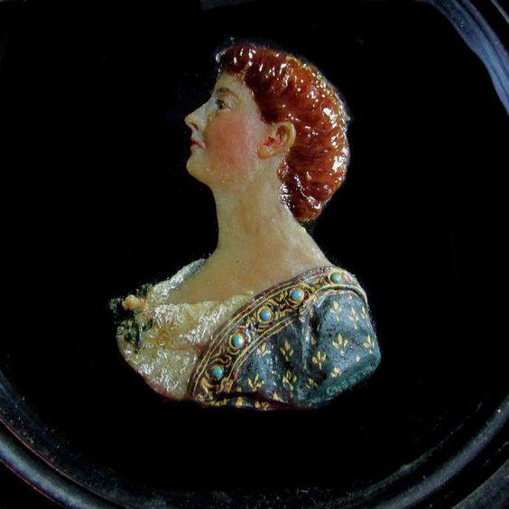SOLD...Fine Antique Victorian, Grand Tour Wax Miniature, Maria Stowell, Princeton NJ