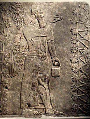 Winged Genie. Iraq, from Nimrud (Kalhu), Northwest Palace, Room L. Neo-Assyrian Period, reign of Ashur-nasir-pal II, circa 883–859 B.C. Alabaster, 93 1/16 x 80 13/16 in. (236.3 x 205.3 cm). The Brooklyn Museum