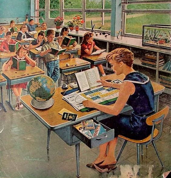 This illustration captures the feel of newly-built 1960s suburban elementary schools.