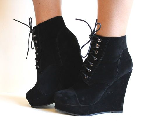 Black Boots Wedge Heel