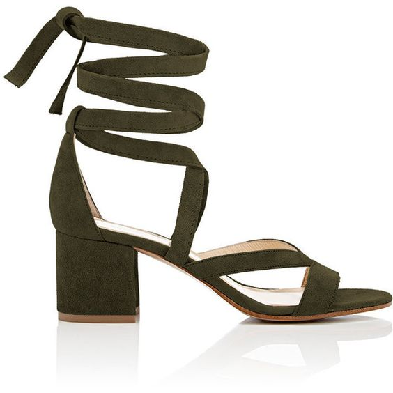 Barneys New York Women's Virginia Ankle-Wrap Sandals ($325) ❤ liked on Polyvore featuring shoes, sandals, dark green, suede sandals, mid heel sandals, ankle wrap sandals, open toe shoes and ankle strap sandals