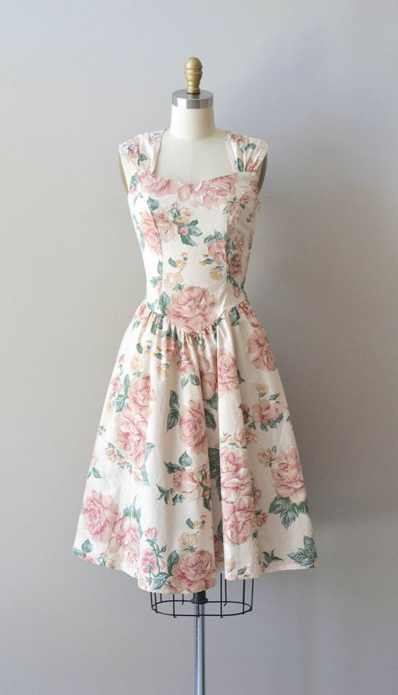 vintage floral dress / rose print cotton dress / Modern Romance ...