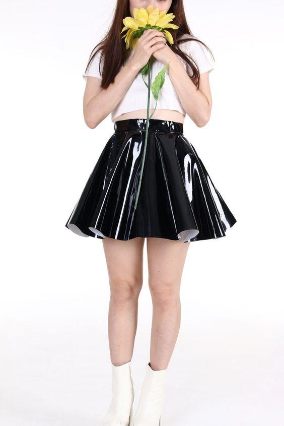 $58 - Black PVC Circle Skirt