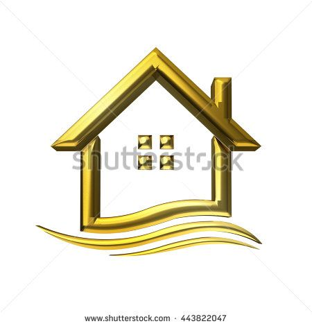 Golden house real estate. 3D rendering illustration
