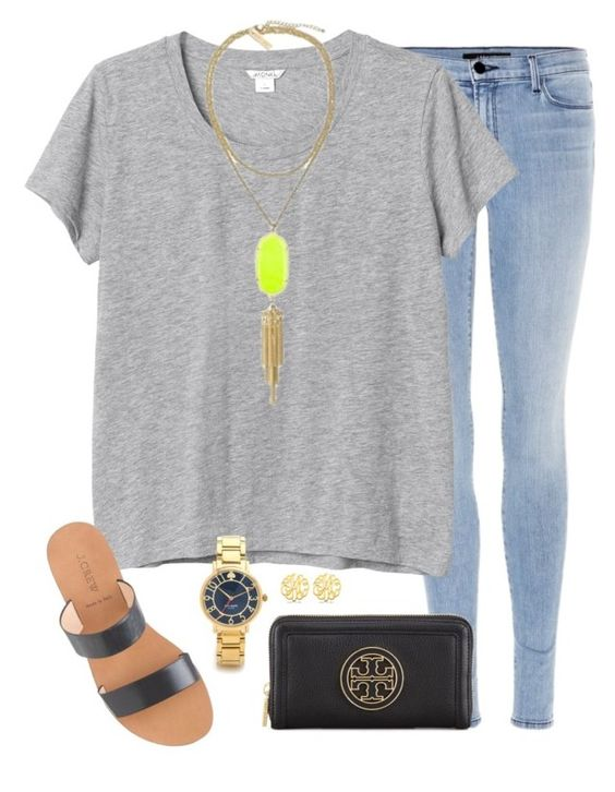 """movie date"" by tex-prep ❤ liked on Polyvore featuring J Brand, Monki, J.Crew, Kendra Scott, Tory Burch, Allurez and Kate Spade"