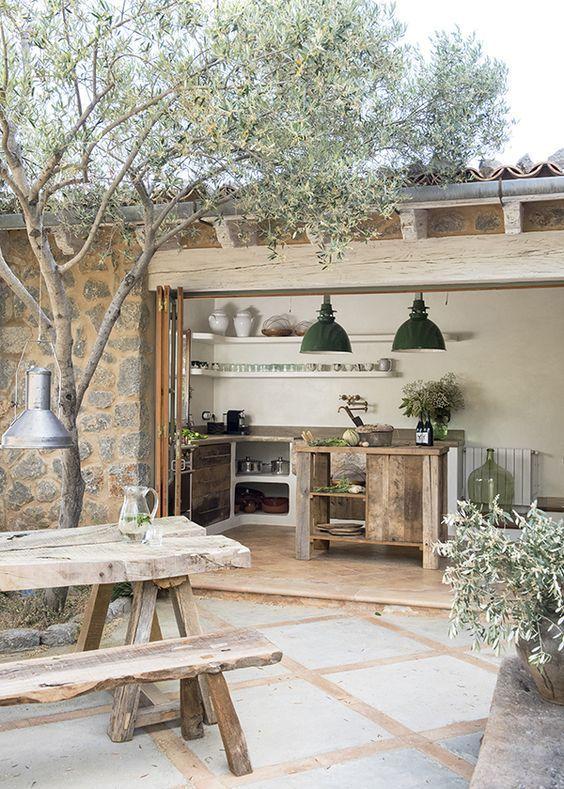 Cocina exterior en el jardín