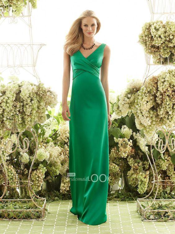 green sheath v-neck satin bridesmaid formal dress with bow back
