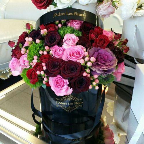 j 39 adore les fleurs bouquet roses elegant flowers hatbox flower flores y frases. Black Bedroom Furniture Sets. Home Design Ideas