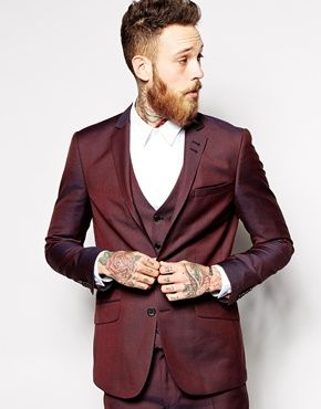 Enlarge River Island Dark Red Suit Jacket | Mens Fashion