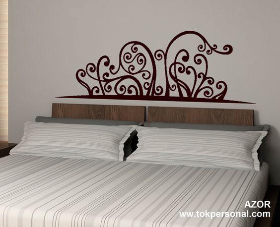 Vinilo decorativo para encima del cabecero de la cama. Se puede adaptar a cualquier medida y color. Solicita información en info@tokpersonal.com. Otros modelos en www.tokpersonal.com