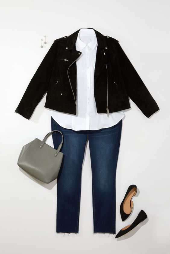 Plus Size Fashion: Punch up a button-up with a cool moto jacket, frayed denim and pointy flats.