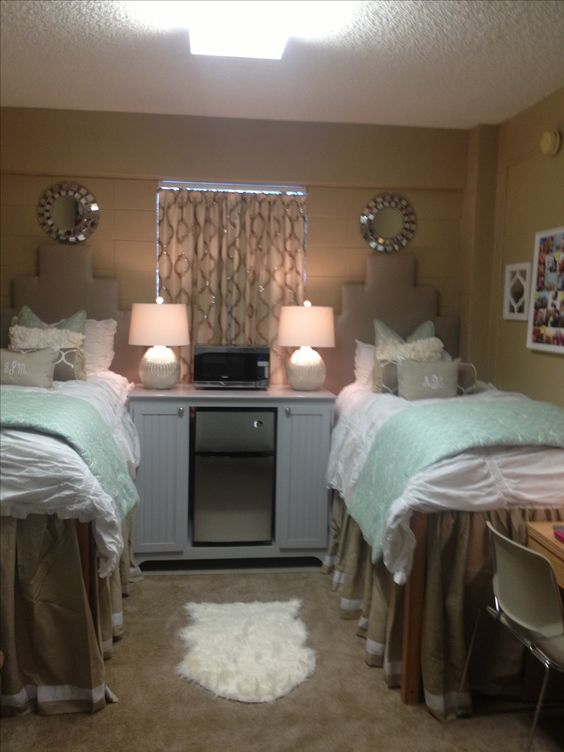 Decorating Ideas > Martin Ole Miss Neutral Dorm Scheme Neat Bedside Cabinet  ~ 080753_Dorm Room Fridge Ideas