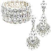 Clear Crystal Bracelet Earrings Set Elegant Wedding Jewelry
