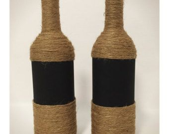 White twine wine bottles by CraftiestOneOfAll on Etsy