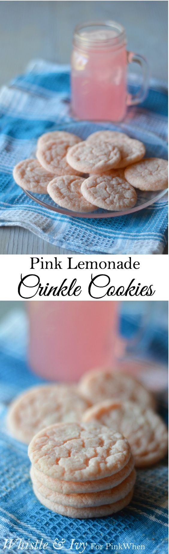 Pink Lemonade Crinkle Cookies - Perfect warm weather and backyard barbecue treat!: