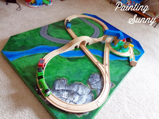 Thinking of trying this one with the banged up Ikea coffee table. DIY Train Table | Painting Sunny