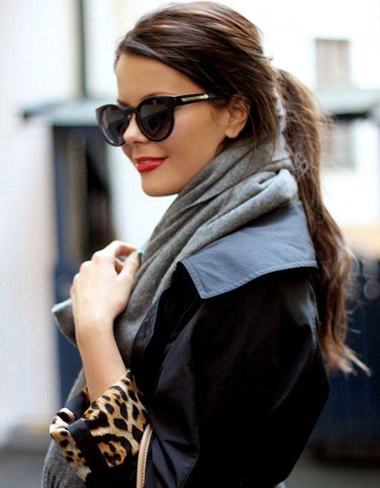 shades, jacket, red lip.