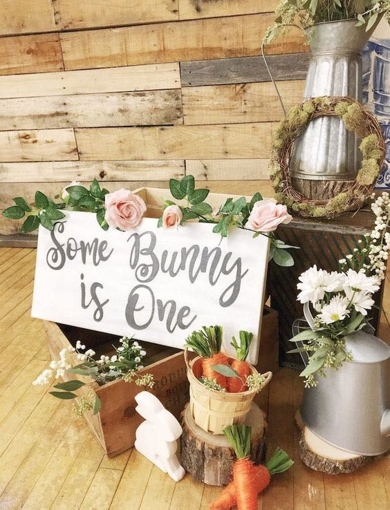 Place Woodsy Items Around For A Bit Of A Rustic Garden Feel Photo Kara S Party Ideas In 2020 Bunny Birthday Party Rainbow Birthday Party Matches Favors