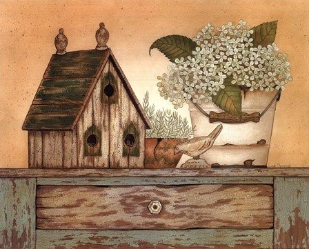 Vintage Green Collection by Linda Spivey art print: