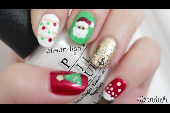 Christmas inspired nails, so cuteeee