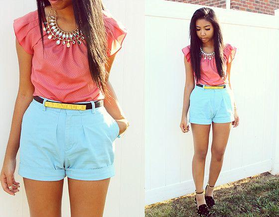 Pink Top, Ralph Lauren Baby Blue Shorts, Diy Hellraisers | Fashion ...