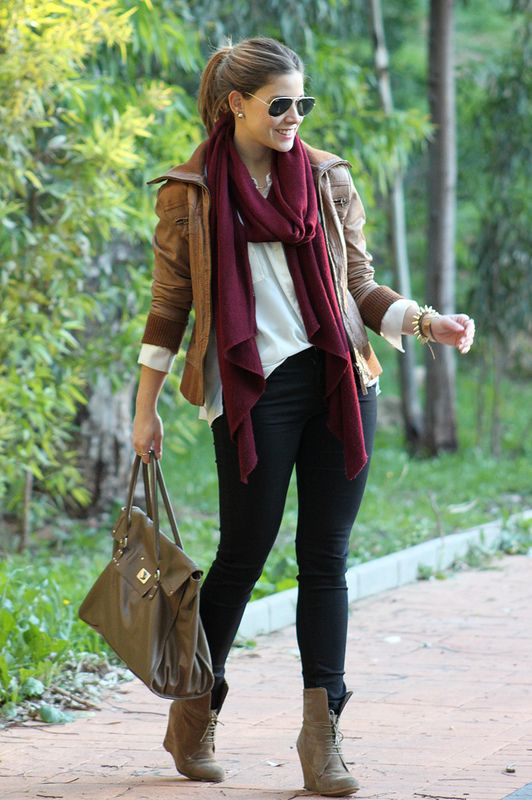 Love the tan.burgundy.black combo - scarf leather jacket