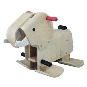 Walking Elephant by Plan Toys: Rock from side to side and the elephant walks forward! Made from recycled natural rubber wood. $179