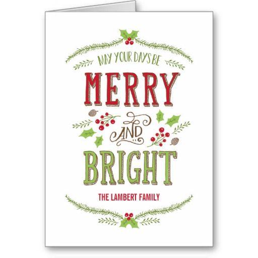 Bright Christmas Holiday Greeting Card #merryandbright #christmas #cards #greetings #holidays #holidaycards #christmascards