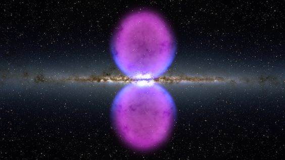 Galactic Lobes -- Scientists have discovered gigantic structures 25,000 light-years tall ballooning above and below the Milky Way