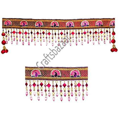Peocock Bandhanwar Using Pink N Golden Beads N Crystals