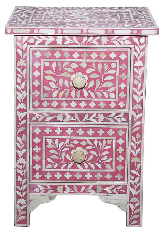 "Bone Inlay 16"" Nightstand, Pink 