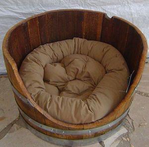 Wine barrel dog bed!