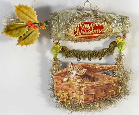 Antique Silver Pinecone Dirigible with Kitty in a Basket | Dresden Star Ornaments DR4S247