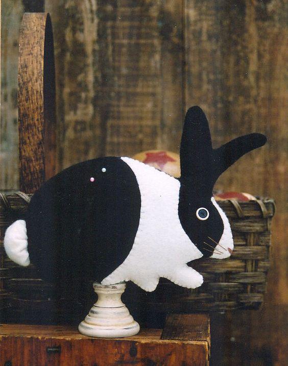 Primitive Wool Bunny e-Pattern Rabbit Black and White Bunny Rabbit Pin Cushion Pin Keeper Make Do Warren Kimble Easter