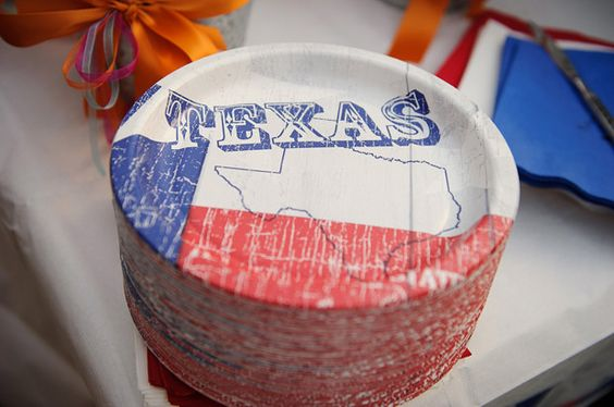 Paper plates for a texas themed