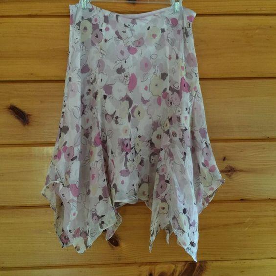 "Delicate Express Floral Lined Skirt 6 Side zip, waist flat is 16"", length 27"" Express Skirts Asymmetrical"